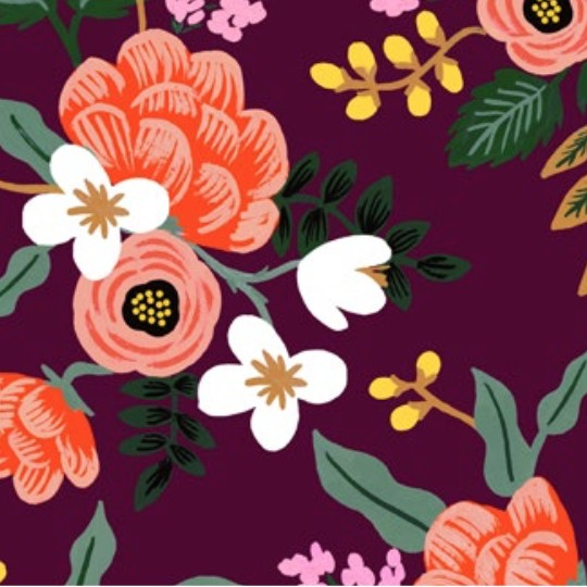 Cotton + Steel PREORDER Menagerie by Rifle Paper Co: Birch Eggplant Rayon