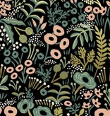 Cotton + Steel Menagerie by Rifle Paper Co: Tapestry Midnight Metallic Canvas