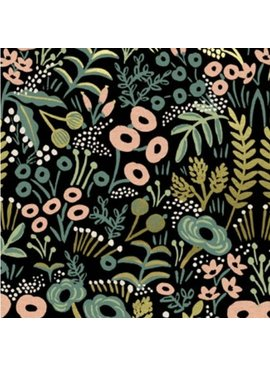 Cotton + Steel PREORDER Menagerie by Rifle Paper Co: Tapestry Midnight Metallic Canvas