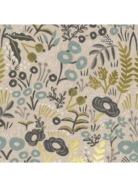 Cotton + Steel PREORDER Menagerie by Rifle Paper Co: Tapestry Natural Metallic Canvas