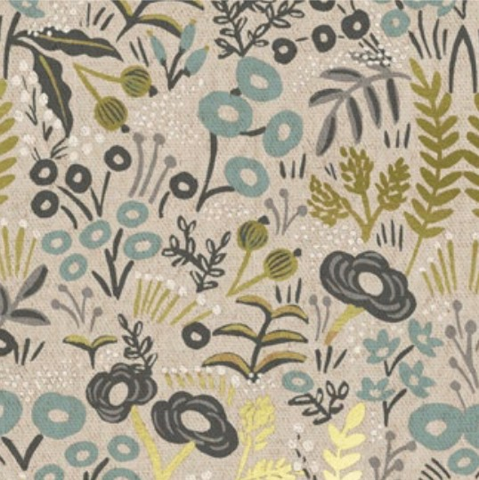 Cotton + Steel Menagerie by Rifle Paper Co: Tapestry Natural Metallic Canvas