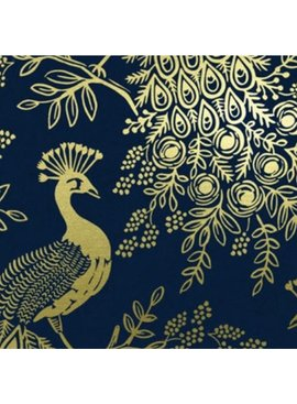 Cotton + Steel PREORDER Menagerie by Rifle Paper Co: Royal Peacock Navy Metallic Canvas