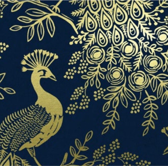 Cotton + Steel Menagerie by Rifle Paper Co: Royal Peacock Navy Metallic Canvas