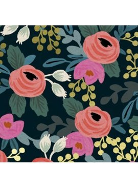 Cotton + Steel PREORDER Menagerie by Rifle Paper Co: Rosa Navy Canvas