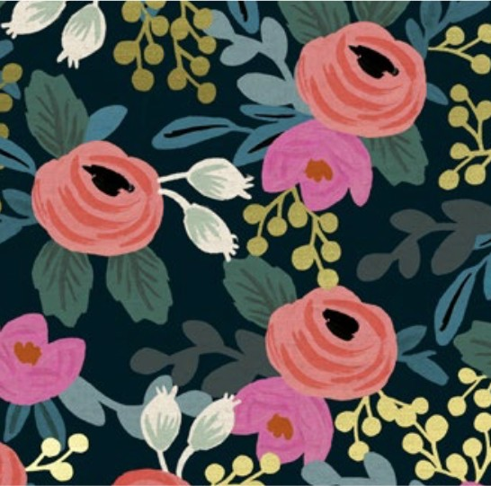Cotton + Steel Menagerie by Rifle Paper Co: Rosa Navy Canvas