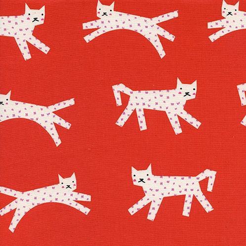 Cotton + Steel Noel by Cotton + Steel: Snow Leopard Red