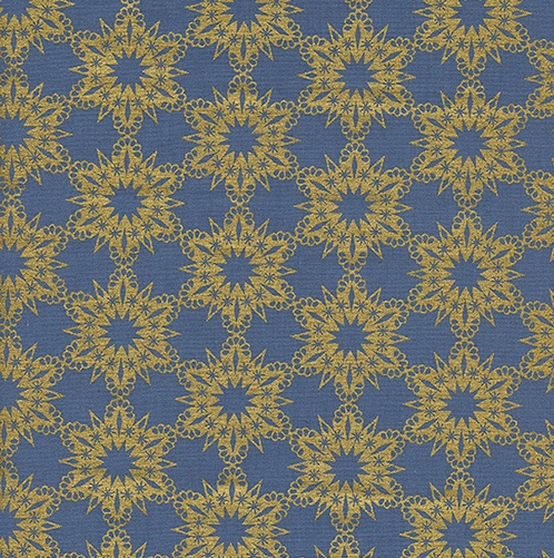 Cotton + Steel Noel by Cotton + Steel: Gold Flakes Blue