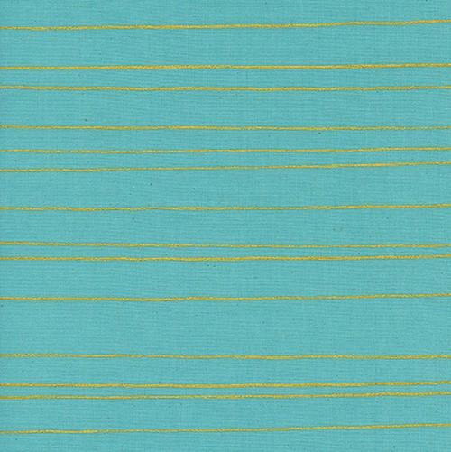 Cotton + Steel Noel by Cotton + Steel: Gold Stripe Aqua