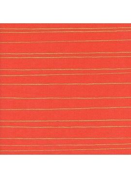 Cotton + Steel Noel by Cotton + Steel: Gold Stripe Red