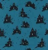 Cotton + Steel SALE—Lil' Monsters by Cotton + Steel: Trick or Treat Teal. Originally $13/yd