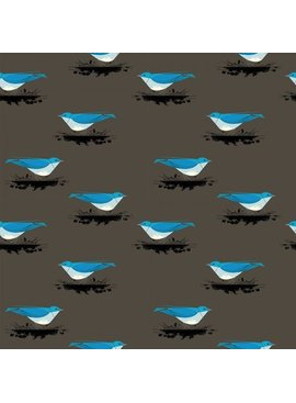 Birch Fabrics Charlie Harper's Western Birds Mountain Blue Bird