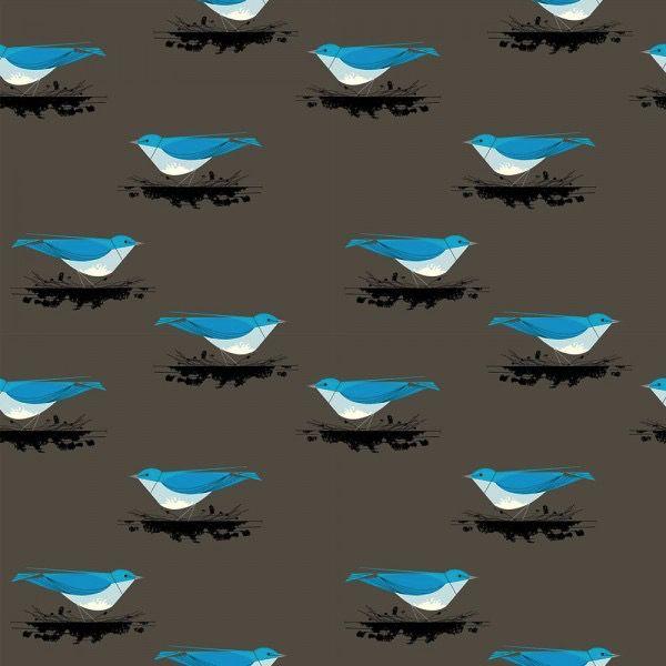 Birch Fabrics Charlie Harper's Western Birds Mountain Blue Bird