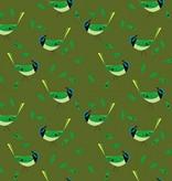 Birch Fabrics Charlie Harper's Western Birds Green Jay