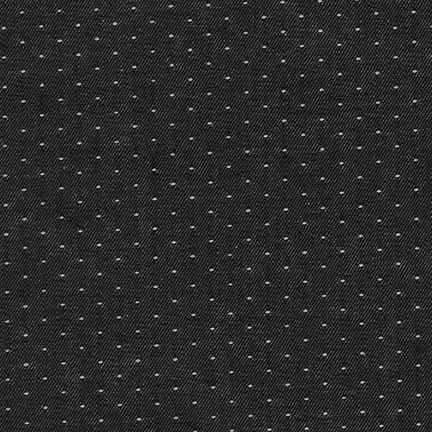 Robert Kaufman Denim Dot Black