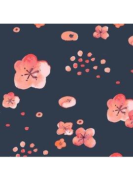 Monaluna Fabric Wanderlust by Monaluna, Cherry Blossoms Organic Lawn, Dusk