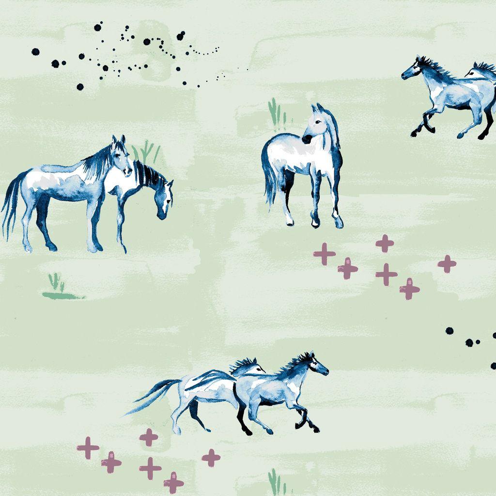 Monaluna Fabric Wild Horses Organic Lawn