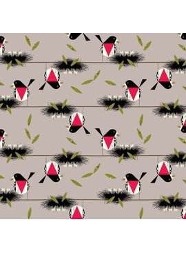 Birch Fabrics Charlie Harper's Bird Architects Rose Breasted Grosbeak Poplin