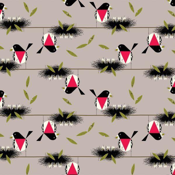Birch Fabrics Charlie Harper's Bird Architects Rose Breasted Grosbeak Poplin