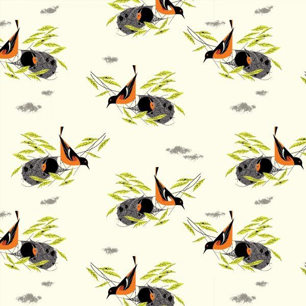 Birch Fabrics Charlie Harper's Bird Architects Baltimore Oriole Poplin