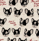 Kokka Boston Terrier Cotton/Linen Canvas