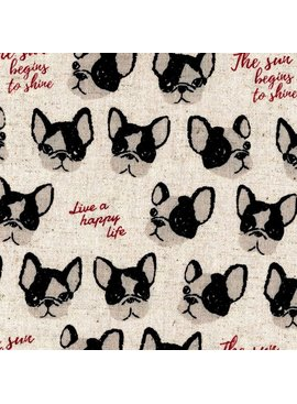 Kokka Boston Terrier Cotton/Linen Canvas