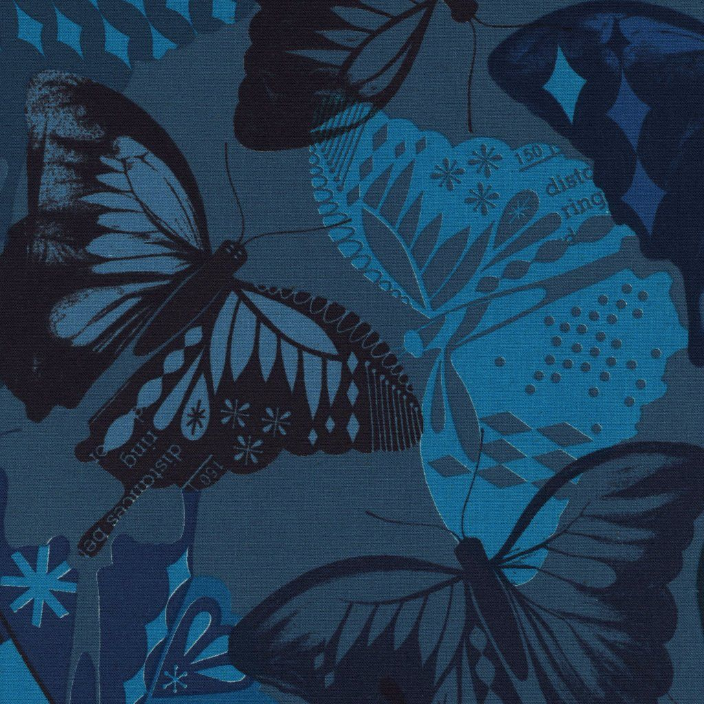 Cotton + Steel Flutter by Melody Miller, Flutter Navy, Unbleached cotton Fabric