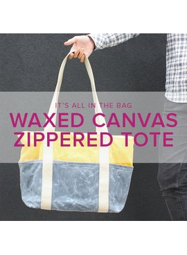 Erica Horton CLASS IN SESSION Waxed Canvas Zipper Tote, Wednesdays, April 18 & 25, 6-9 pm