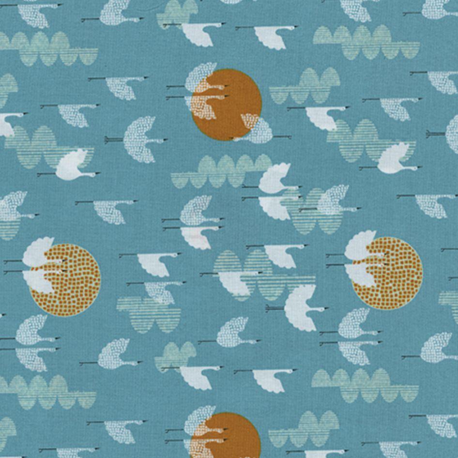 Cotton + Steel #Lawnquilt by Cotton + Steel Cranes Dawn
