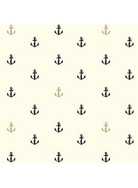 Birch Fabrics Inkwell: Little Anchors in Black/Metallic Poplin