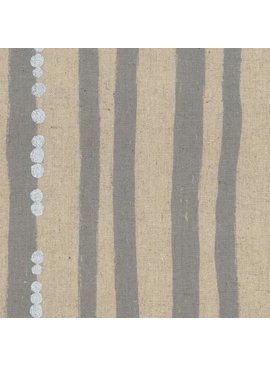 Kokka Echino Stripe Grey Metallic Cotton/Linen Canvas