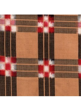 Textile Creations Dakota Ikat Checkerboard Black Khaki Red White