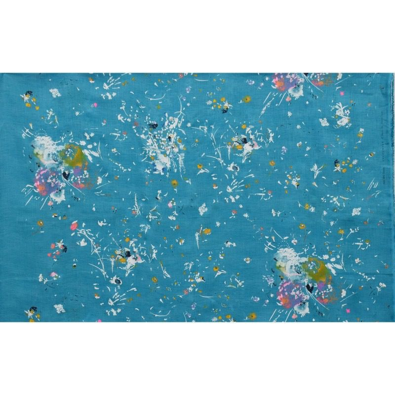 EE Schenck Nani Iro Linen Canvas: Encounter Turquoise 100% Linen