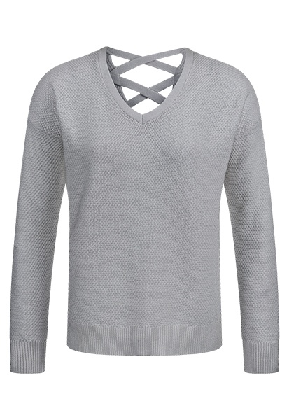 Tribal Tribal Lace Up Back Sweater