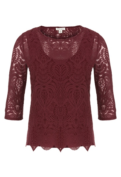 Tribal Tribal 3/4 Sleeve Round Neck Top With Scallop Hem