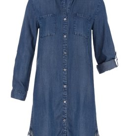 Tribal Tribal Denim Dress with Pockets and Fringe
