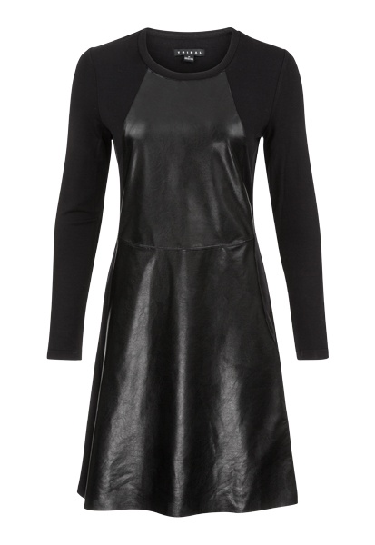 Tribal Tribal Faux Leather Crew Neck Dress with Pockets