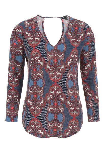 Tribal Tribal Long Sleeve V Neck