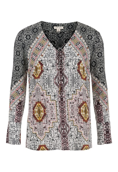 Tribal Tribal Long Sleeve V Neck Blouse