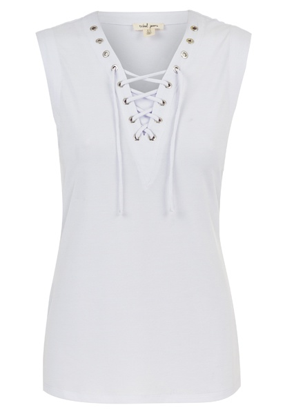 Tribal Tribal Lace Up Tank