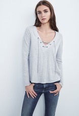 Velvet Velvet True Laceup Stripe Top