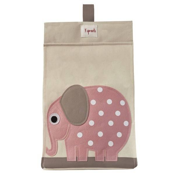 3 Sprouts 3 sprouts diaper stacker - pink elephant