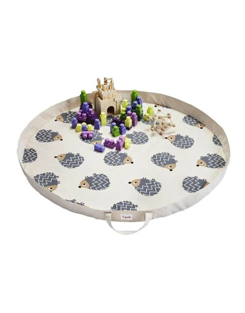3 Sprouts 3 sprouts play mat bag - grey hedgehog