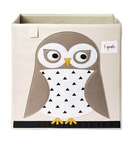 3 Sprouts 3 sprouts storage box - white owl