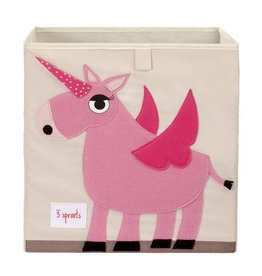 3 Sprouts 3 sprouts storage box - pink unicorn