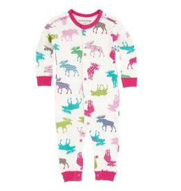 Hatley hatley baby coverall and hat - patterned moose