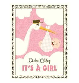 Yellow Bird Paper Greetings yellow bird paper greetings - stork it's a girl baby card