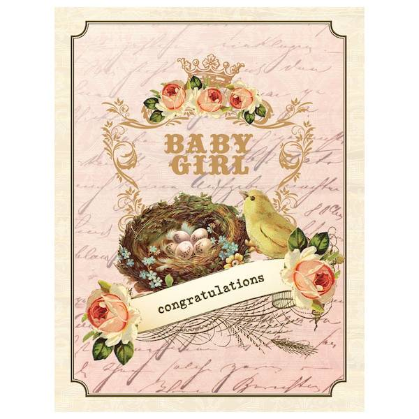 New baby girl card vintage nest by yellow bird paper greetings yellow bird paper greetings yellow bird paper greetings vintage nest girl baby card m4hsunfo