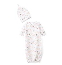 nohi kids nohi kids newbie gown & hat set - pink teepee