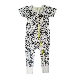 Parade parade organics signature zipper short sleeve romper - black brushes