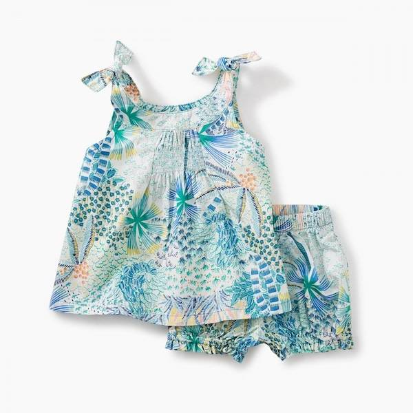 Tea Collection tea collection shoulder tie baby outfit - tropical palms